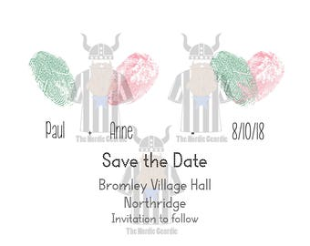 Fingerprint Save The Date Card Digital Artwork