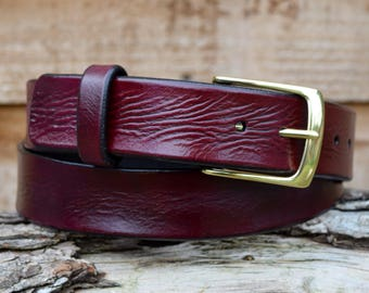 Cristopher Handmade Full Grain Oxblood Leather Belt fitted with Solid Brass Buckle