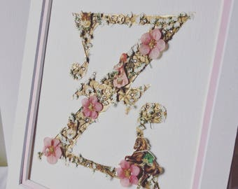 Birth announcement wall art, using real pressed flowers,silver leaf and gemstones: Personalised Letter, Custom Initial for baby gift