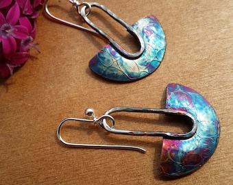 Sterling oxidized blade earrings
