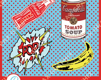 Pop Art vector set clipart commercial use, vector graphics, digital clip art, images-PA01