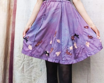 old gibbous skirt- hand dyed - fabric art