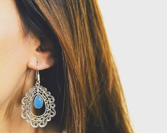 Tribal Oval Mandala Earrings