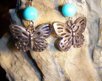 Earrings Butterfly & turquoise glass beads