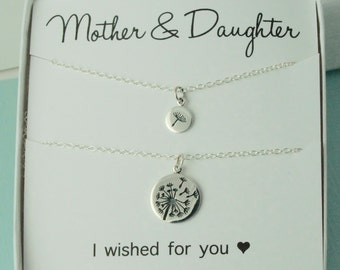 Mother & Daughter Dandelion Necklaces, dandelion necklace, wish for you, twin necklace, sterling silver