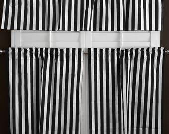 lovemyfabric Cotton Blend Striped Print Kitchen Curtain Tier/Valance Window Treatment