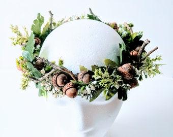 Woodland Wedding Crown - Forest Sprite Bohemian Bridal Crown Festival Crown