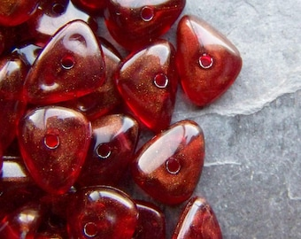 Chip Bead, Nugget Bead, Lucite Bead, Vintage Bead, Shimmer, Red Beads, Boho Bead, 50 Beads