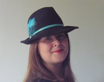 Black and Teal Wool Felt Trilby Fedora Hat with Patent leather and feather trim. Autumn Winter Warm Day Hat.
