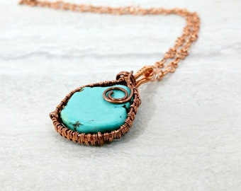 Turquoise Necklace Wire Wrapped Pendant Necklace Copper Necklace Boho Necklace Gemstone Necklace Gift for Her Gift for Mom Healing Jewelry