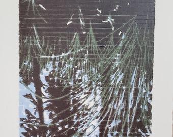 Head on the Ground, original woodcut reduction print