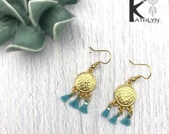 Blue tassel and gold Bohemian earrings