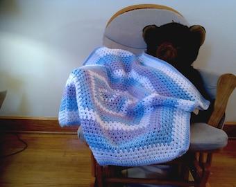 Hexagon Baby Blanket- Baby Blue, Lavender, White