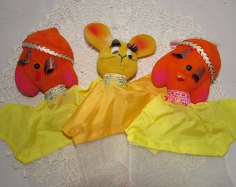THREE - Vintage Flocked Plastic Hand Puppets, 2 Bright Orange Poodle Dogs, 1 Bright Yellow Mouse, 60s, childs toy, party favors