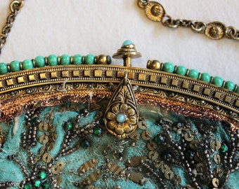 Antique Victorian Beaded Evening Bag ~ Glass Beaded Purse ~ Vintage Victorian Bag ~ Jeweled Purse