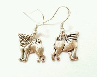 Pug earrings, pug dog earrings, dog jewelry, pug jewelry, silver pug earrings, gift for dog lover, gift for pug lover