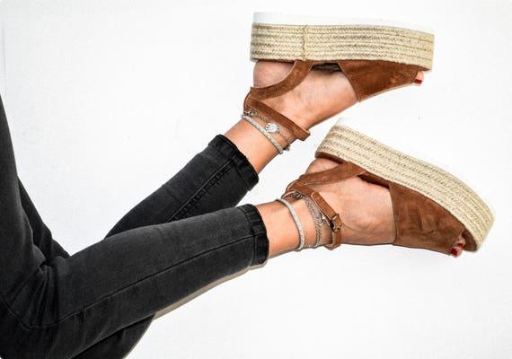 sandals Suede Sandals espadrille Flatform suede sandals leather genuine sandals wedge flatform greek Espadrille sandals rrwg6qxBP