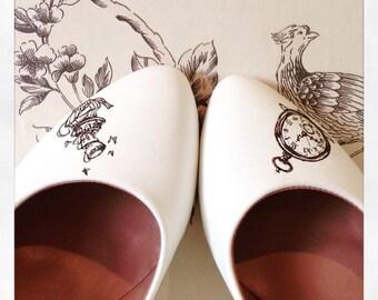 Handpainted Alice in Wonderland Wedding shoes