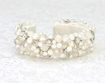 Pearl Bridal Bracelet- Pearl & Crystal Bracelet- Pearl Bridal Cuff- Rhinestone Bridal Bracelet-Wedding Bracelet- Pearl Bracelet-Jeweled Cuff