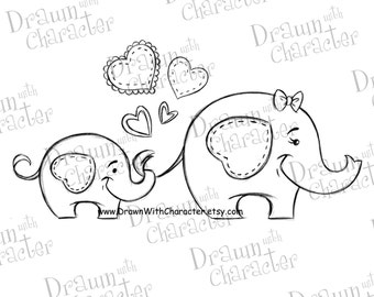 Mommy and Baby Elephant Mother's Day Digital Stamp/ KopyKake Image-  SP35-MBELE