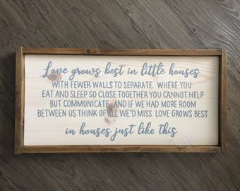 Love Grows Best in Little Houses, Wood Sign, Family Sign, Rustic Wood Decor, Love Grows Best, Little houses, Farmhouse Style, Framed Sign