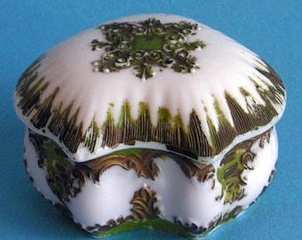 Vintage Victorian McKee Milk Glass Antique Trinket Box Handpainted Opal Opaline Collectible Powder Jar