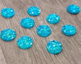 8mm Aqua Blue Faux Druzy Cabochon - 10 pcs: 8-DRUZ-F01