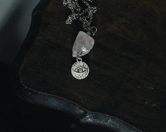 Evil Eye + Rose Quartz Necklace