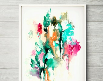 Watercolor art, watercolor painting, watercolor abstract art, abstract flower, pink abstract, modern art print