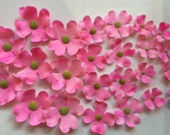 24 dogwood fondant flowers edible cupcake toppers wedding cake topper decorations hot pink blossoms birthday baby bridal shower