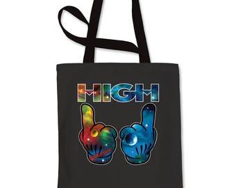High Galaxy Print Shopping Tote Bag