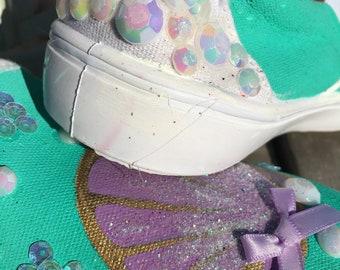 Mermaid vans inspired hand painted shoes