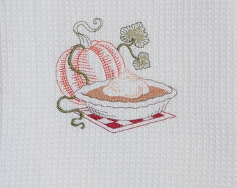 Thanksgiving towel - Autumn Kitchen Towel - Pumpkin and pie  towel  -Embroidered  autumn towel -  autumn kitchen decor- autumn decor