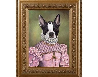 Boston Terrier Fridge Magnet, Miss Rascal Whimsical Dog Refrigerator Magnet