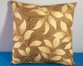 Brown leaf pattern pillow cover