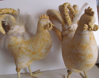 Fancy Chickens Large Rooster Hen Figurines Rooster Decor Chicken Figurines Rooster figurines  Free Range Chickens Yellow and White Decor