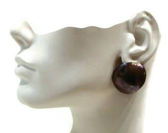 Vintage Clip On Earrings Vintage Copper Earrings Large Clip On Earrings Metal Clip On Earrings Vintage Round Earrings
