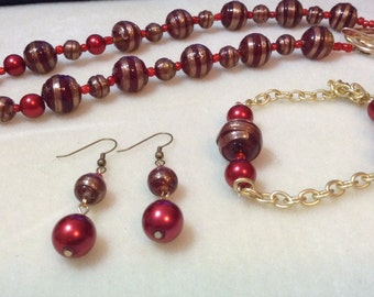 Ruby and Gold jewelry set