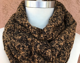 Black and Brown Infinity Scarf / Plaid Scarf /  Gift for Her.