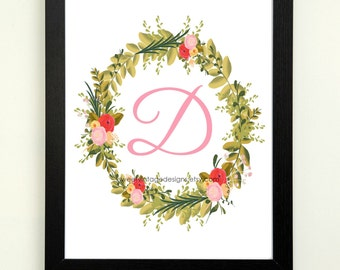 Letter D Printable, 8x10 Instant Download, Baby Girl Nursery Art, Nursery Decor, Floral Monogram, Letter Art, Baby Gift, Baby Shower Gift