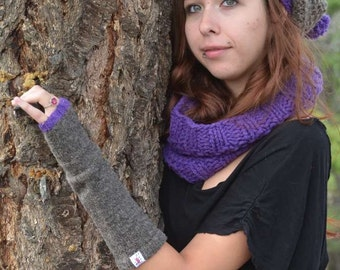 Wool Fingerless Gloves - Canadian Merino Wool - Purple and Grey Fingerless Gloves