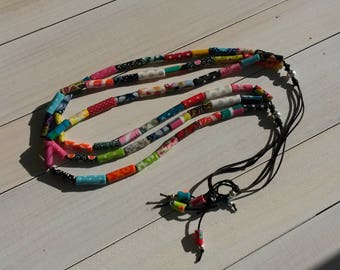 "adjustable ""fabric"" necklace 3 rows of multicolored"
