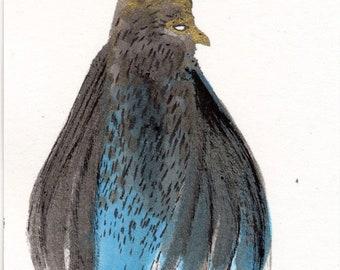 Grey Blue Bird Impression Mini Artwork on paper by Emma Kidd / aceo