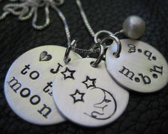 "3/4"" 5/8"" 9/16"" 22g Valentines Day Hand Stamped Love Charms Necklace"