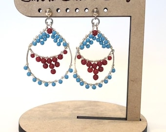 Turquoise and Coral Glass Bead Earrings