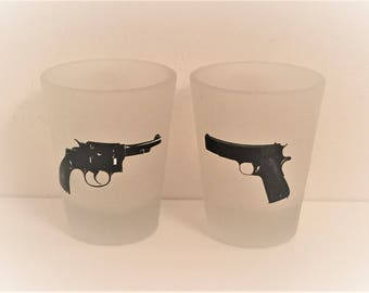 Pair of vintage gun shot glasses