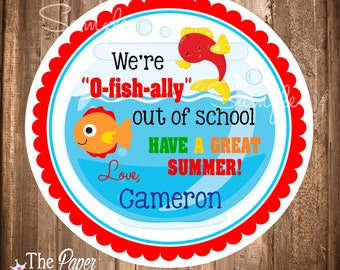 Out of School Printable Labels, Fish Gift Tags, Last day of School Favors, End of school Favor Tags or stickers