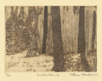 COOK FOREST MORNING original etching signed & numbered