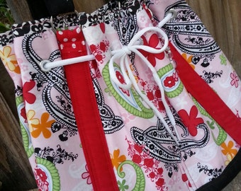 Red &  Pink Purse, Floral Drawstring Tote, Purse with Grommets, Purse with Pockets, Fabric Purse, Drawstring Bag, Summer Purse