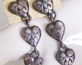 REDUCED  3 Cut-out Heart Dangles with Post Backs  Looks Like Sterling but we couldn't see a Mark